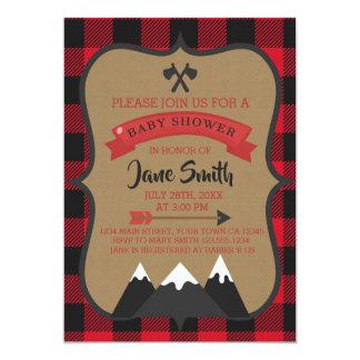 Buffalo Plaid Lumberjack Baby Shower Invitation