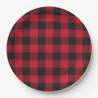 Buffalo Plaid Lumberjack Baby Shower Plate