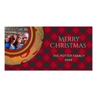 Buffalo Plaid Lumberjack Red Holiday Photo Card