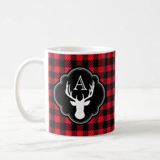 Buffalo Plaid Monogram Deer Head Coffee Mug
