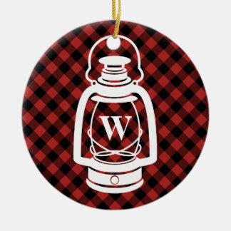Buffalo Plaid Monogram Lantern Round Ceramic Decoration