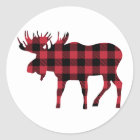 Buffalo Plaid Moose, Lumberjack Style, Red Black Classic Round Sticker