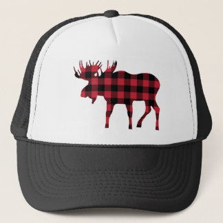 Buffalo Plaid Moose, Lumberjack Style, Red Black Trucker Hat