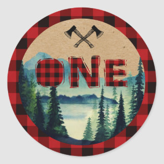 Buffalo Plaid Party Cupcake Toppers Round Sticker