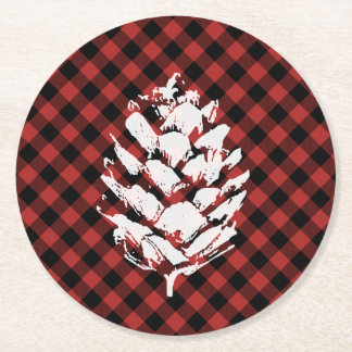 Buffalo Plaid Pinecone Coasters