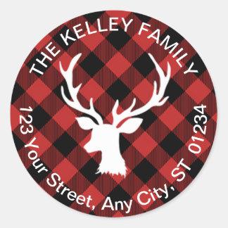 Buffalo Plaid Red and Black Holiday Address Classic Round Sticker