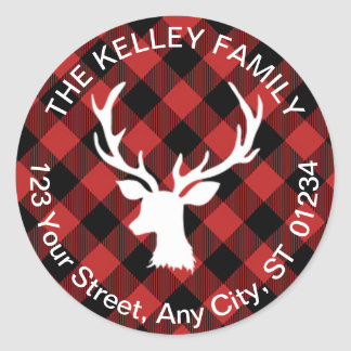 Buffalo Plaid Red and Black Holiday Address Round Sticker