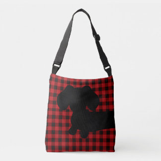 Buffalo Plaid Red & Black Dachshund Messenger Bag