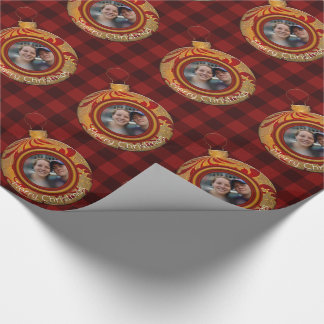 Buffalo Plaid Red Gold Merry Christmas Photo Wrapping Paper