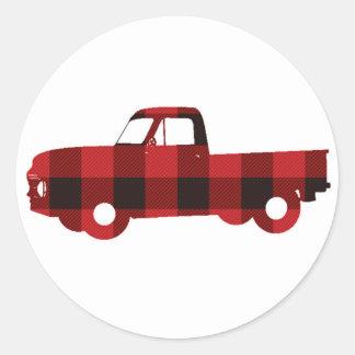 Buffalo Plaid Truck | Round Stickers