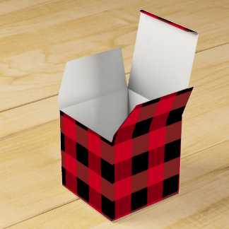 Buffalo plaid wedding favour boxes