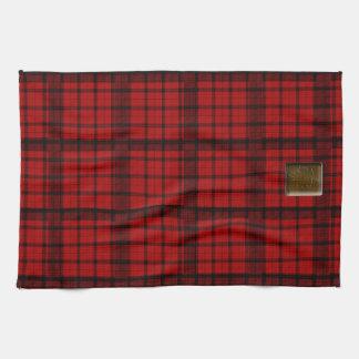 Buffalo Plaid with Maple Leaf ButtonAmerican MoJo  Tea Towel