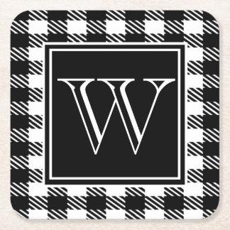 Buffalo Plaid Your Color & Monogram Square Paper Coaster