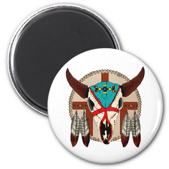 Buffalo Skull 6 Cm Round Magnet