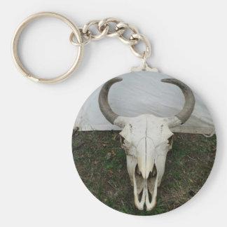Buffalo Skull Basic Round Button Key Ring