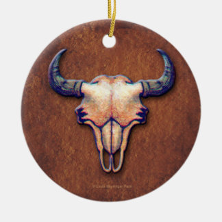 Buffalo Skull Watercolor Painting Round Ceramic Decoration