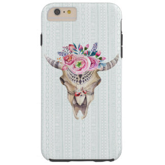 Buffalo Skull With Pink Roses Tough iPhone 6 Plus Case