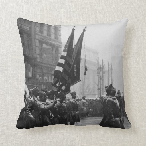 """""""Buffalo"""" Soldiers Returning Colors - 1919 Pillow"""