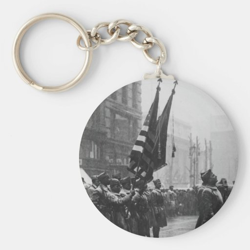 """""""Buffalo"""" Soldiers Returning Colors - 1919 Keychains"""