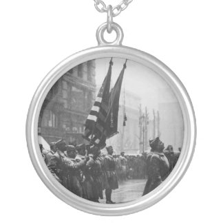 """Buffalo"" Soldiers Returning Colors - 1919 Round Pendant Necklace"