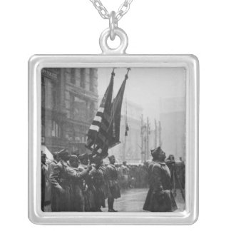 """Buffalo"" Soldiers Returning Colors - 1919 Square Pendant Necklace"