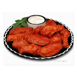 Buffalo wings with blue cheese postcard