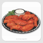 Buffalo wings with blue cheese square stickers