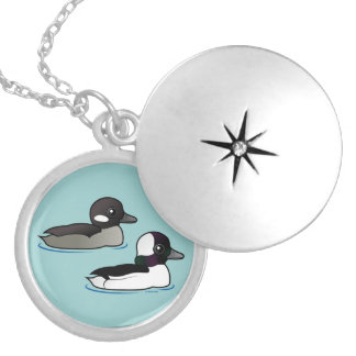 Bufflehead Pair Silver Plated Necklace