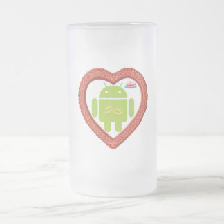 Bug Droid Heart (Love) Two Gold Rings Pink Cake Frosted Glass Beer Mug