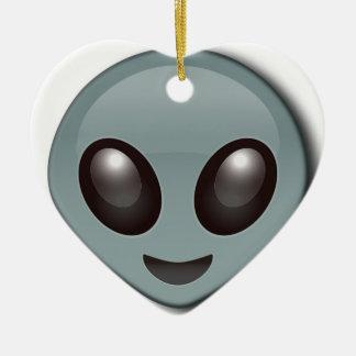 Bug Eyed Alien Ceramic Heart Decoration