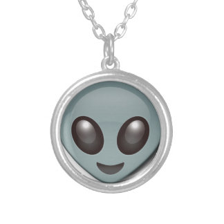 Bug Eyed Alien Silver Plated Necklace