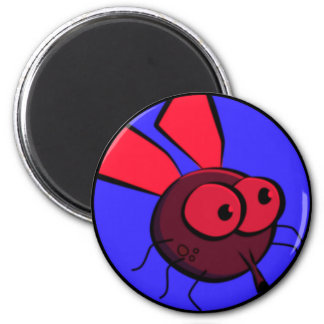 Bug Eyed Fly Face 6 Cm Round Magnet