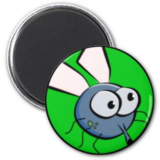 Bug Eyed Fly Face 6 Cm Round Magnet