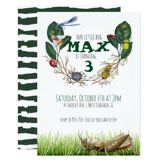 Bug Themed Birthday Party Invitation