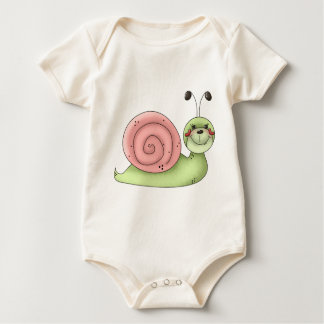 Buggin' You · Snail · green & pink Baby Bodysuit