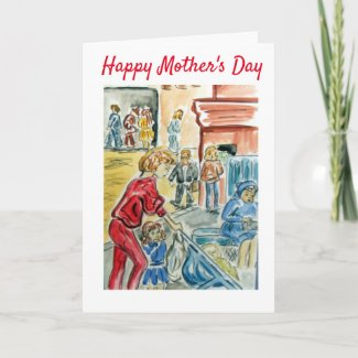 Buggy Pushchair Cartoon Mother's Day Card