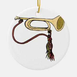 Bugle Horn With Cord Graphic Image Trumpet Design Round Ceramic Decoration