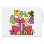 Bugs and Apples 4th Grade Teacher Greeting Cards