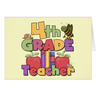 Bugs and Apples 4th Grade Tshirts and Gifts Greeting Card