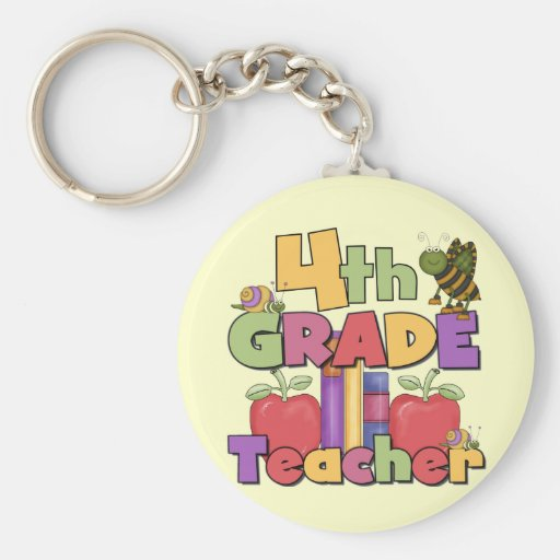 Bugs and Apples 4th Grade Tshirts and Gifts Key Chains