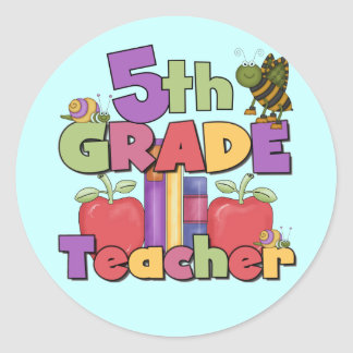 Bugs and Apples 5th Grade Teacher Round Stickers