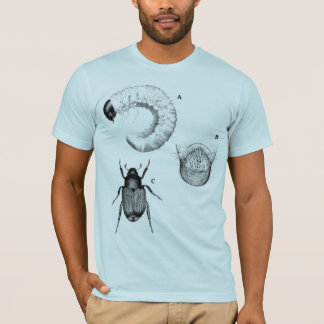 Bugs and Beetles blue semi fitted mens tshirt