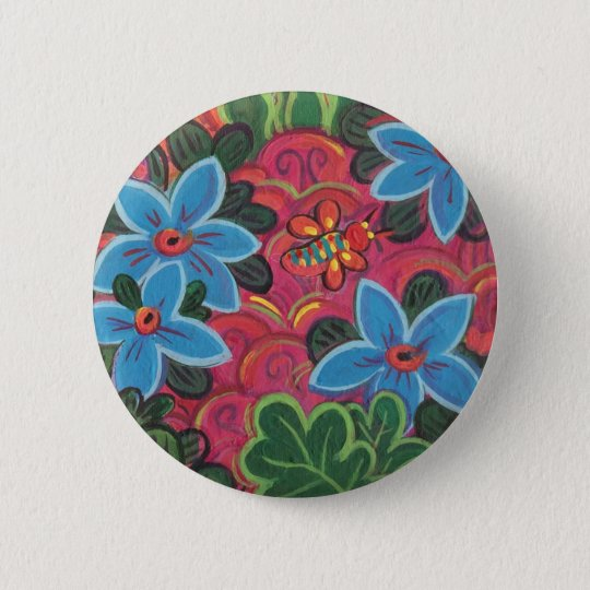 Bugs and Flowers Garden 6 Cm Round Badge