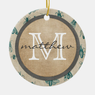 Bugs and Insects Background Monogram Round Ceramic Decoration