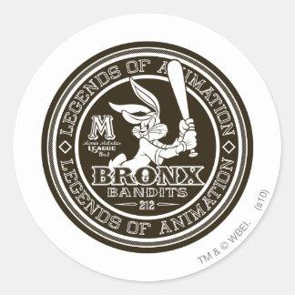 BUGS BUNNY™ Bronx Bomber's Round Logo B/W Round Sticker