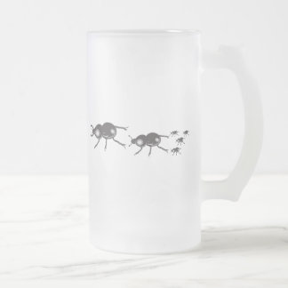 bugs frosted glass beer mug