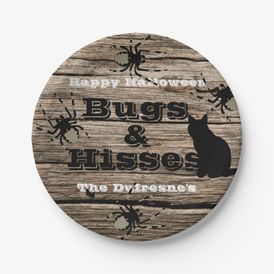 """Bugs & Hisses"" Personalised Halloween 7 Inch Paper Plate"