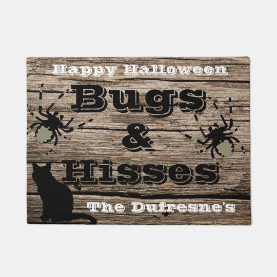 """Bugs & Hisses"" Personalised Halloween Doormat"