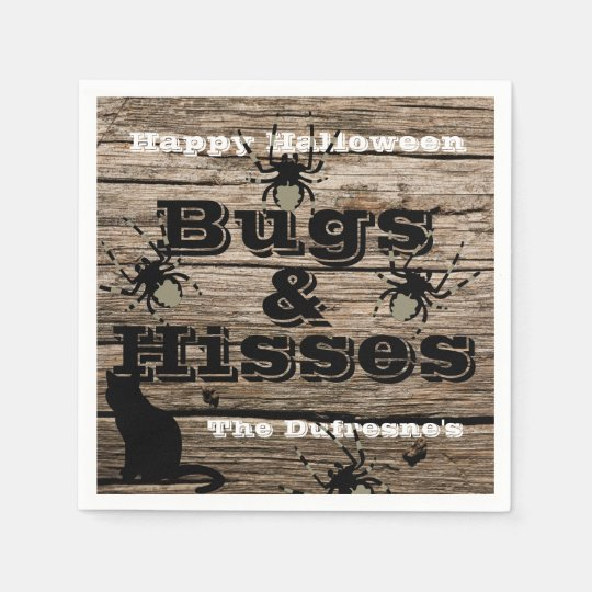 """""""Bugs & Hisses"""" Personalised Halloween Paper Napkin"""
