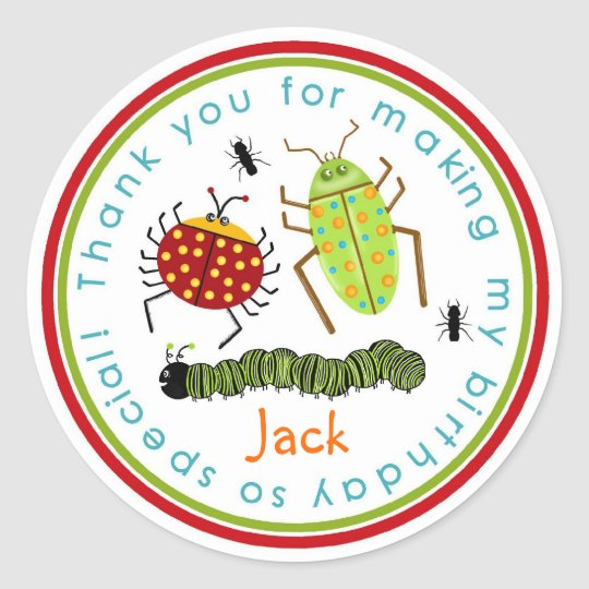 Bugs Insects Ladybugs Ants Birthday Favour Round Sticker
